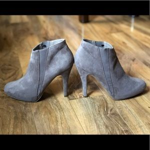 Forever21-Taupe Suede Heeled Booties-Size 8